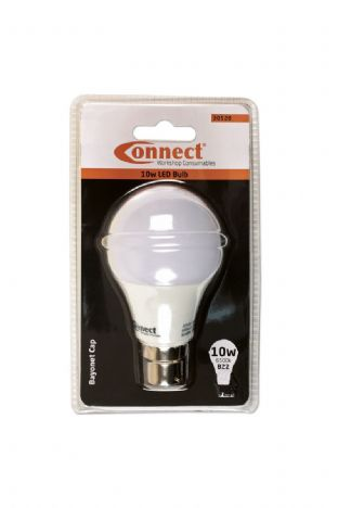 Connect 30528 10W LED Bulb 6500K B22 Bayonet Fitting Cold White Pk of 1
